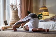 Sporty Senior Woman Doing Hala...
