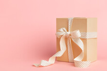 Craft Box Gift With Ribbon Bow...