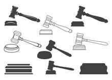 Judge Gavel Icon, Judge Gavel Symbol,  Judge Gavel Vector, Judge Or Auction Hammer Icon, Judge Gavel Vector Symbol Icon Design. The J Gave Vector Icon Set. Black Vector Illustration On White Backgroun