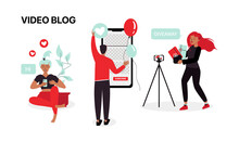 Youtube Illustration. Bloggers Make Content. Video Blog Illustration. Vector Illustration