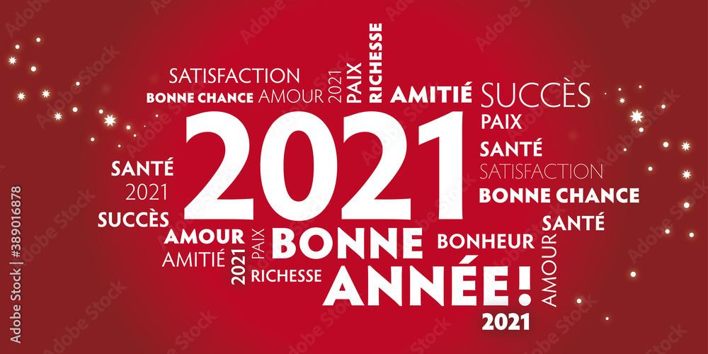 Fototapeta Carte de voeux – bonne année 2021 - rouge.
