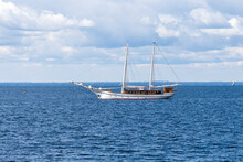 Old Ship With Two Masts With L...