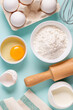 Baking or cooking background. Ingredients, kitchen items for baking.