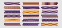 Halloween Washi Tapes Set, Purple And Orange Sticky Tapes With Torn Edges Isolated On A Light Background. Vector Illustration.