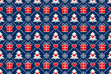 Winter Holiday Pixel Seamless Pattern With Christmas Symbols. Christmas Trees, Snowflakes, Present Boxes And Hearts Ornament. Scheme For Knitted Sweater Pattern Design Or Cross Stitch Embroidery.
