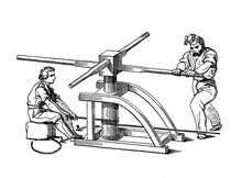 Vintage Illustration Of Two Sailor Managing A Capstan, Vertical-axled Rotating Machine Developed For Use On Sailing Ships To Multiply The Pulling Force Of The Seamen When Hauling Ropes And Anchors
