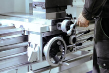 The CNC Lathe Machine. Turning...