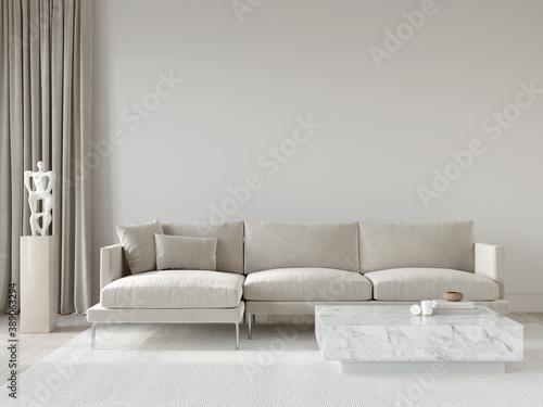 Fototapeta Living room interior in beige tones with a corner sofa and ma…