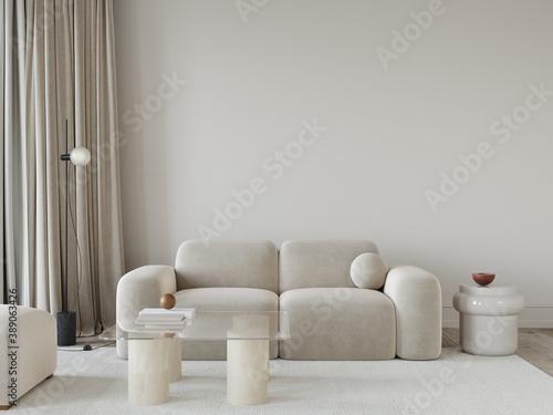 Fototapeta living room in beige tones with a stylish sofa, a glass table… obraz