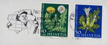 Briefmarke Stamp Gestempelt Used Frankiert Cancel Vintage Retro Alt Old Gebraucht Slogan Werbung Paketbote Parcel Delivery Blumen Flowers Distel Löwenzahn Grün Blau Schweiz Helvetia Französisch French