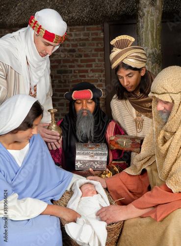 Nativity scene with wisemen Canvas Print
