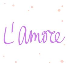 L Amore. Cartoon Illustration Fashion Phrase. Cute Trendy Style Design Font. Vintage Vector Hand Drawn Illustration. Vector Logo Icon.