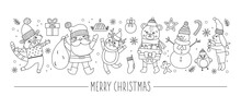 Vector Horizontal Set With Black And White Christmas Characters And Elements. Card Template Design With Santa Claus, Funny Animals, Snowman, Present. Cute Winter Or New Year Line Border..