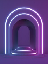 3d Render, Abstract Geometric Background, Art Deco Shop Display In Neon Light, Fashion Podium, Blank Mock Up Template, Minimalistic Empty Showcase, Primitive Arch Shapes, Niche