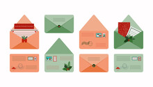 Christmas Postcards And Cute Multicolored Letters.Postcard To A Loved One, Friend, Family.Letters For Santa On An Isolated White Background.