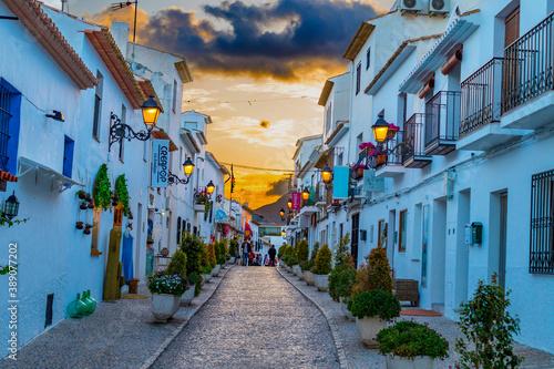 Old town street of Altea, Spain