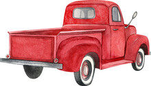 Watercolor Red Retro Truck. Hand Painted Vintage Retro Car Illustration Perfect For Thanksgiving Card Making, Wedding Invitation And Fall Autumn Postcards