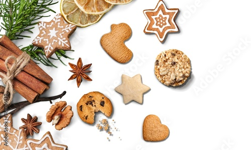 Homemade Christmas cookies on white background Canvas Print