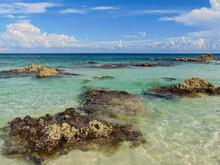 Hermosa Tarde En El Caribe Mexicano , Lugar Llamado Punta Morena En La Isla De Cozumel, Quintana Roo México Donde Se Puede Disfrutar De Aguas Cristalinas, Arena Blanca Y Suave Y Una Vista Increíble.