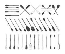 Oars Bundle, Oars Clipart, Oars Silhouette, Oars Vector, Oars Symbol, Oars Icon, Rowing Oars, Plastic Oars
