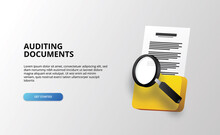 3d Folder File Document With Magnifying Glass For Auditing And Analysis Investigating And Business
