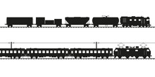 Freight Train And Passenger Train Black Vector Silhouette