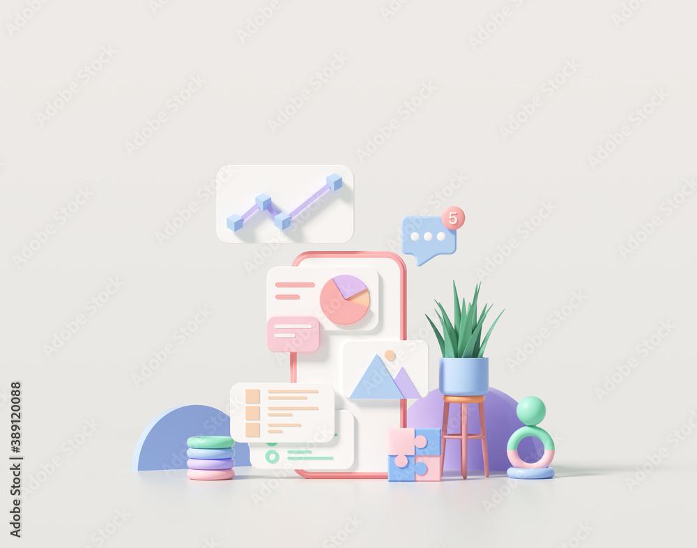 Fototapeta 3D minimal mobile app development and mobile web design concept, user interface optimization. 3D render illustration