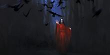 Vampire In Red, Digital Painting.
