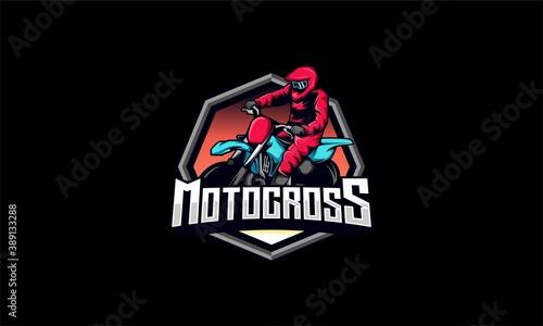 Fotografia Motocross logo vector , motocross rider vector