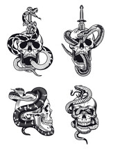 Gothic Skull And Snake Vector Illustration Set. Vintage Monochrome Dead Head With Sword Isolated Vector Illustration Collection. Design Elements For Tattoo Concept Can Be Used For Retro Template