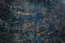 Rusted Dark Blue Flat Raw Steel Sheet Surface Texture And Background With Scratches
