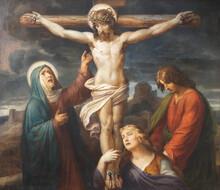 VIENNA, AUSTIRA - OCTOBER 22, 2020: The Painting Of Crucifixion In Church St. Johann Der Evangelist By Karl Geiger (1876).