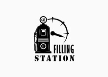 Gas Pump Oil Station Logo Design Inspiration. Gas Pump Vector Template. Illustration Of A Fuel Dispenser Filling Station Gasoline Pump Computer.