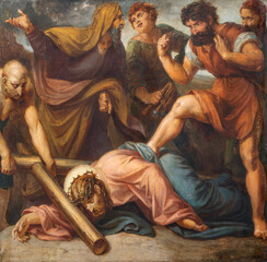Panel Szklany Podświetlane Dla Kościoła VIENNA, AUSTIRA - OCTOBER 22, 2020: The painting Jesus fall under the cross in church St. Johann der Evangelist by Karl Geiger (1876).