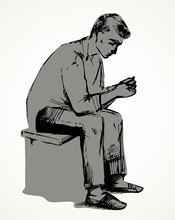The Guy Is Sitting On A Stool. Vector Drawing