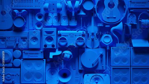 Obraz na plátne Blue Musical Instrument Wall 3d illustration