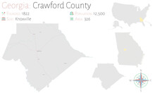 Large And Detailed Map Of Crawford County In Georgia, USA.
