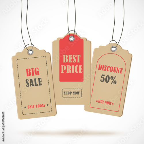 Fototapety, obrazy: Vector stickers, price tag, banner, label. Coupon sale, offers and promotions vector template.