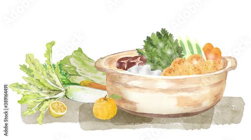 Foto 鍋料理と野菜 水彩イラスト