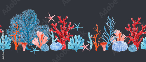 Papel de parede Beautiful horizontal seamless underwater pattern with watercolor starfish and corals