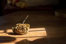 Dry Lotus Flower Lay On Wood Table Sad Warm Tone Stock Photo