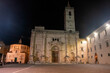 Night view of the Renaissance and medieval squares of Ascoli Piceno, Italy.