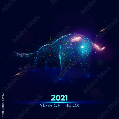 Obraz 2021 Year of the Ox vector illustration made of neon particles. New 2021 year of the bull art in modern abstract style consists of colorful dots - fototapety do salonu
