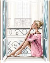 Beautiful Blonde Hair Woman Sitting On Windowsill.