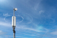 Radio Waves Radiate From The Cell Tower Antenna. Wireless Communication And Mobile Internet Concept. Radio Emission