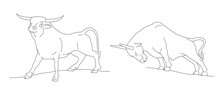 Linear Illustration In One Thin Line Of Bull Or Ox In Different Posture, Poses. Hand Drawn Illustration, Year Of Ox