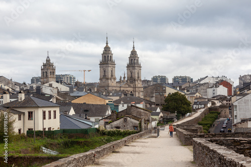 Roman walls and Cathedral of Lugo town