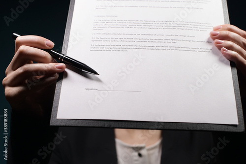 The manager indicates the place in the FAKE contract where to sign Canvas Print