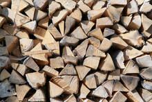 View Of A Woodpile, Ends Of Pieces Of Wood