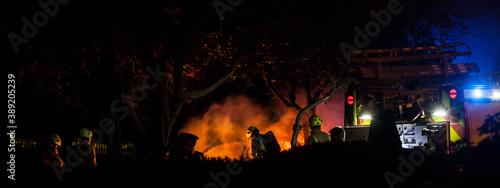 Obraz na plátne Firefighters tackling a blaze at night in the United Kingdom
